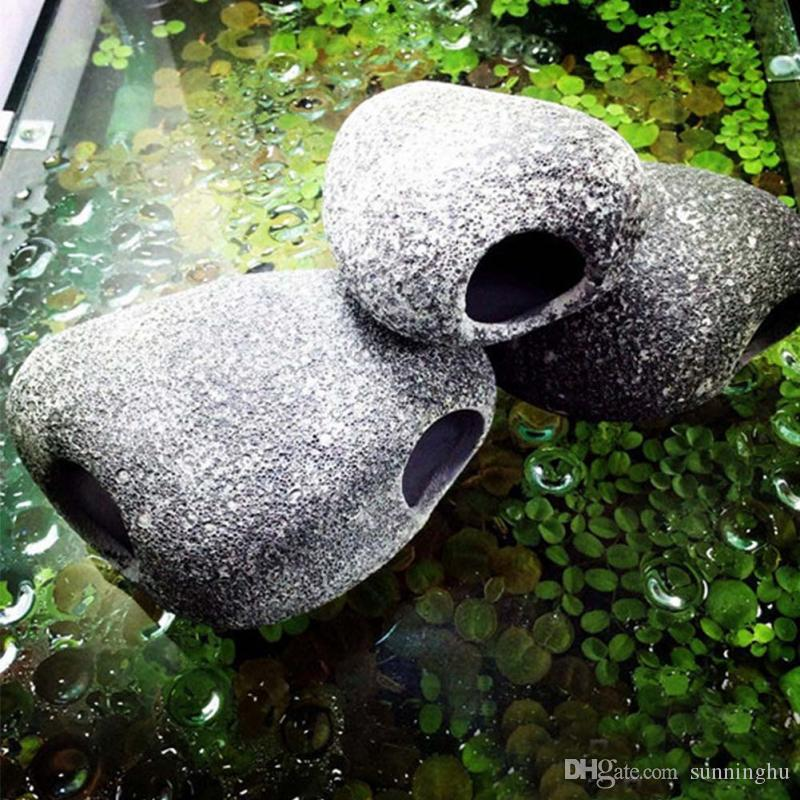 재미 있은 수족관 물고기 물고기 탱크를위한 세라믹 작은 바위 굴 돌 장식 Cichlids 존재를위한 유익한 부속품