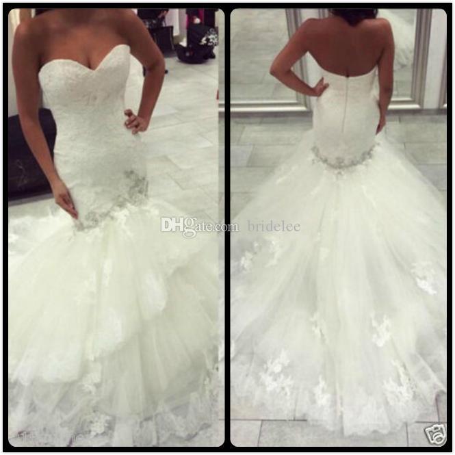 Новая белая слоновая слоновая русалка свадебные платья 2020 New Bead Aweetheart свадебные платья с кружевными аппликациями на заказ