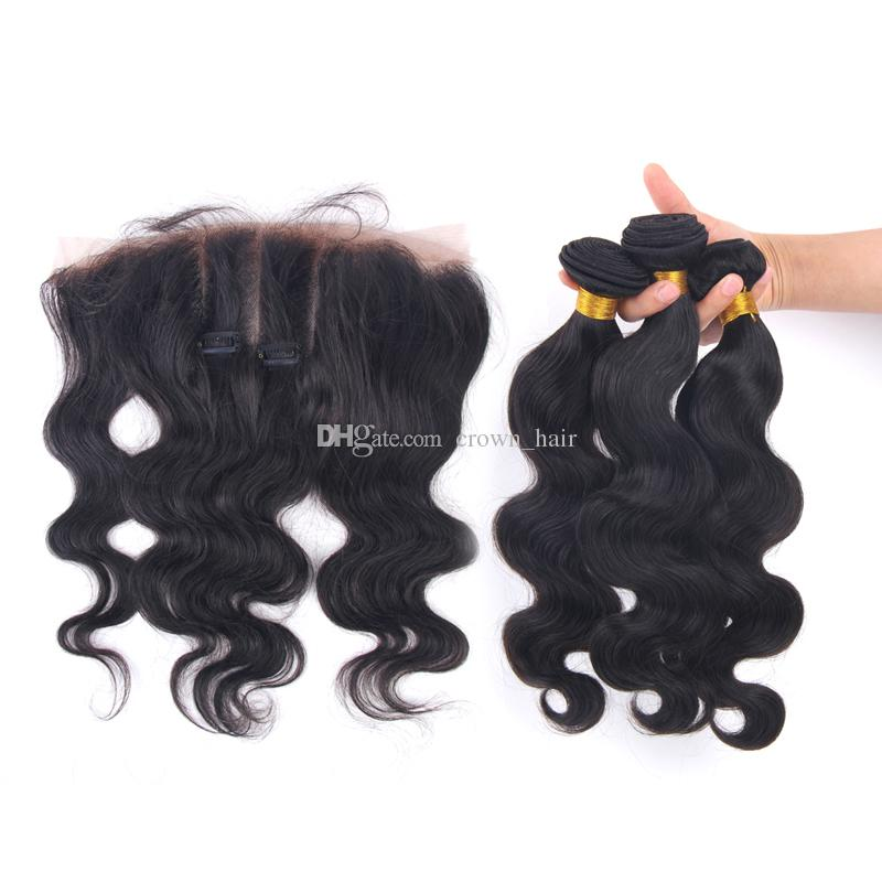 Hot Sale Body Wave Human Hair Bundles With Lace Frontal 4pcs/lot Free Part Ear to Ear Lace Frontal With Bundles Cheap Price