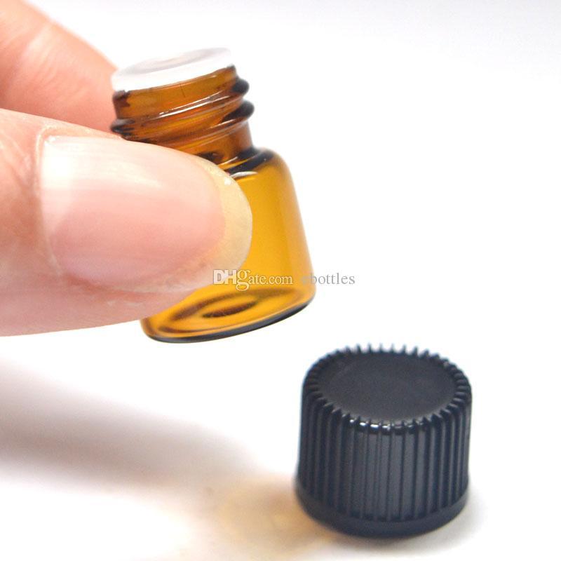 50pcs 1ml 앰버 유리 에센셜 오일 병 향수 샘플 튜브 1/4 Dram 명확한 1 ml 병 플러그 및 모자