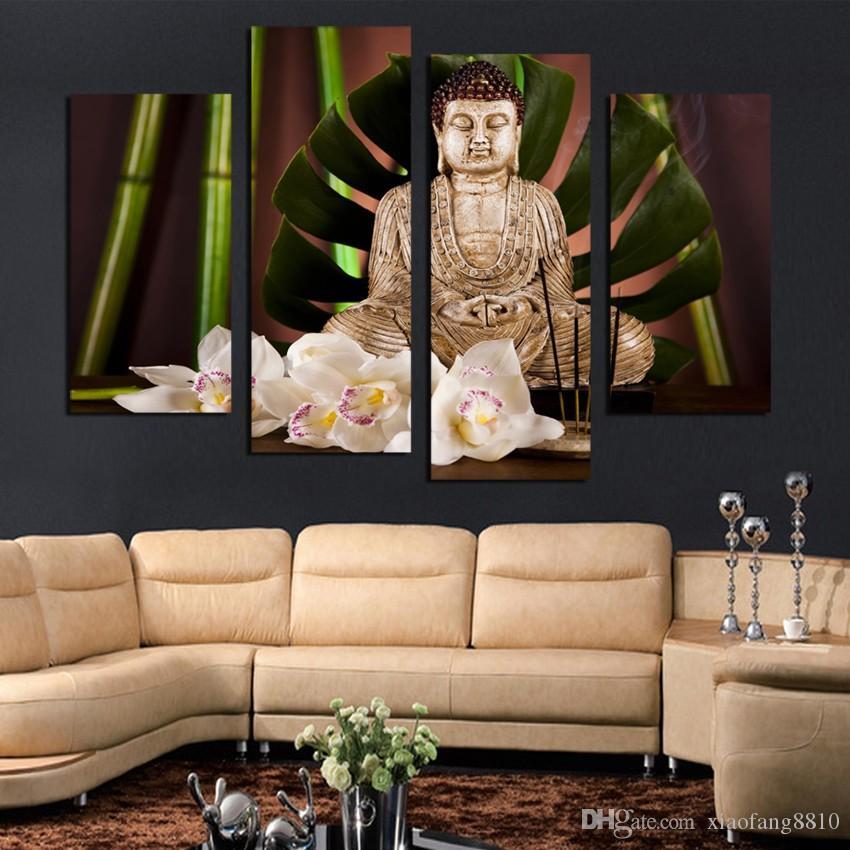 4 Painel de Budismo Buddha Canvas Painting Antique Buda imagem Wall Art decoração de Casa para sala de estar sem moldura F1854
