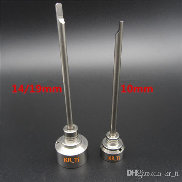 10mm 14mm 및 18mm 티타늄 네일 유리 봉에 상단 및 하나의 각진 구멍에 티타늄 Dabber와 함께 뜨거운 티타늄 Carb 모자 판매