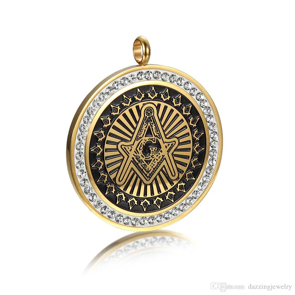 Retro silver gold black stainless steel men's evil eye masonic free mason compass and square AG emblem necklace pendants jewelry