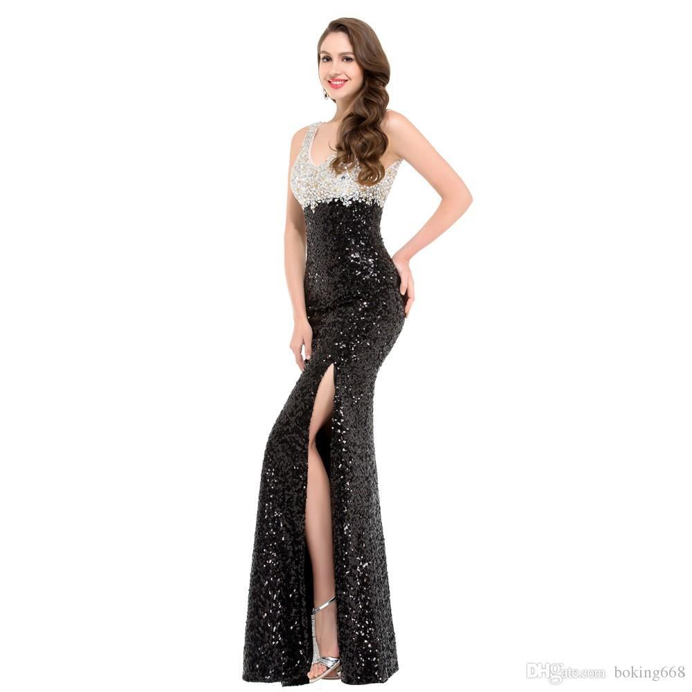 Großhandel 10 Neueste Luxus Glitter Pailletten Meerjungfrau Abendkleider  Schwarz Weiß Abendkleid Formale Verlobungsfeier Kleid Lange Abendkleid Nach