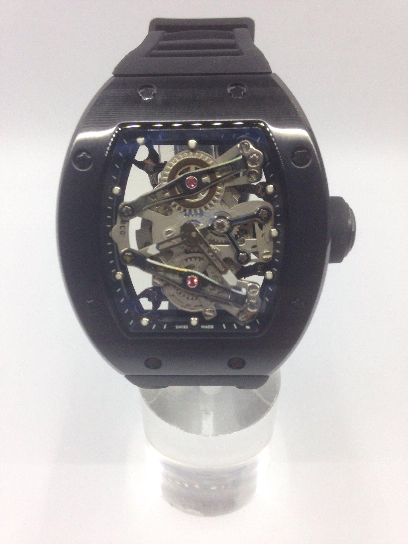 2016 nuovo modello OROLOGI LUXURY Fashion Watch NOVITÀ Full feature 45mm Hollow Tourbillon Orologio da polso da uomo nero cinturino automatico in caucciù