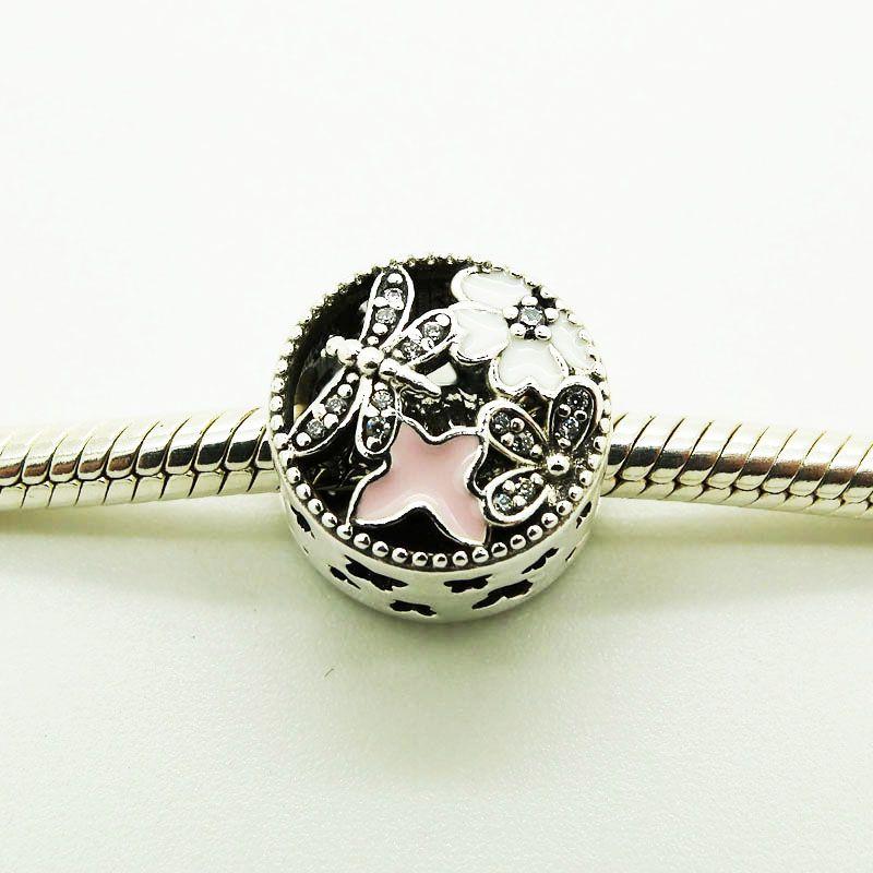925 grânulos de prata esterlina rodada encantos para a europa com borboleta imagem 2016 nova jóias