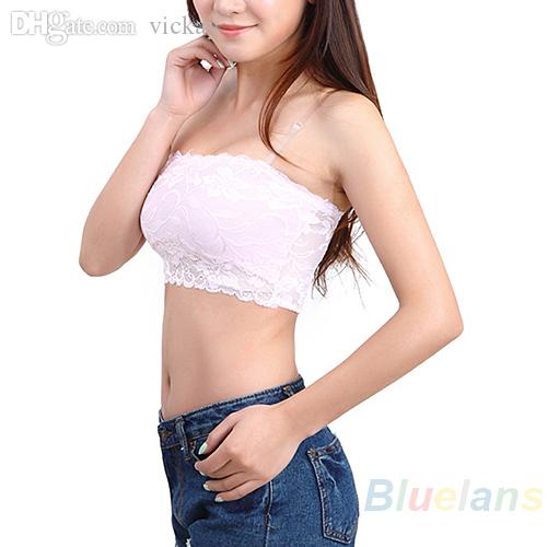 Sexy Lace Cortar Casual Boob de metro de New Women Top Bandeau Bra Strapless sem emenda preto sólido branco Rosa Nude B314