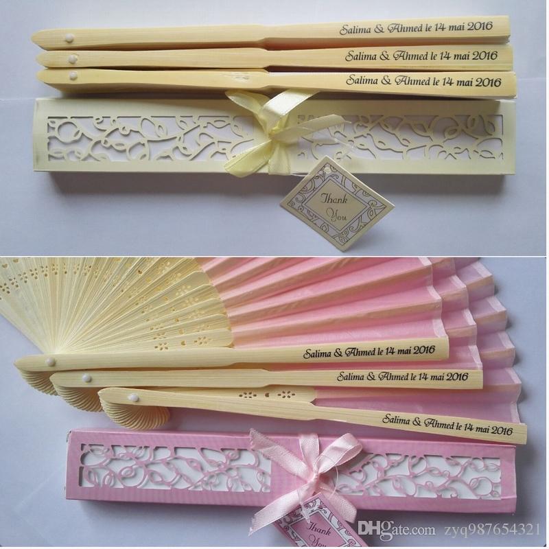 50 pcs Personalized Silk Fan Folding Luxurious Silk Fold Hand Fan in Elegant Laser-Cut Gift Box Party Favors Wedding Gifts
