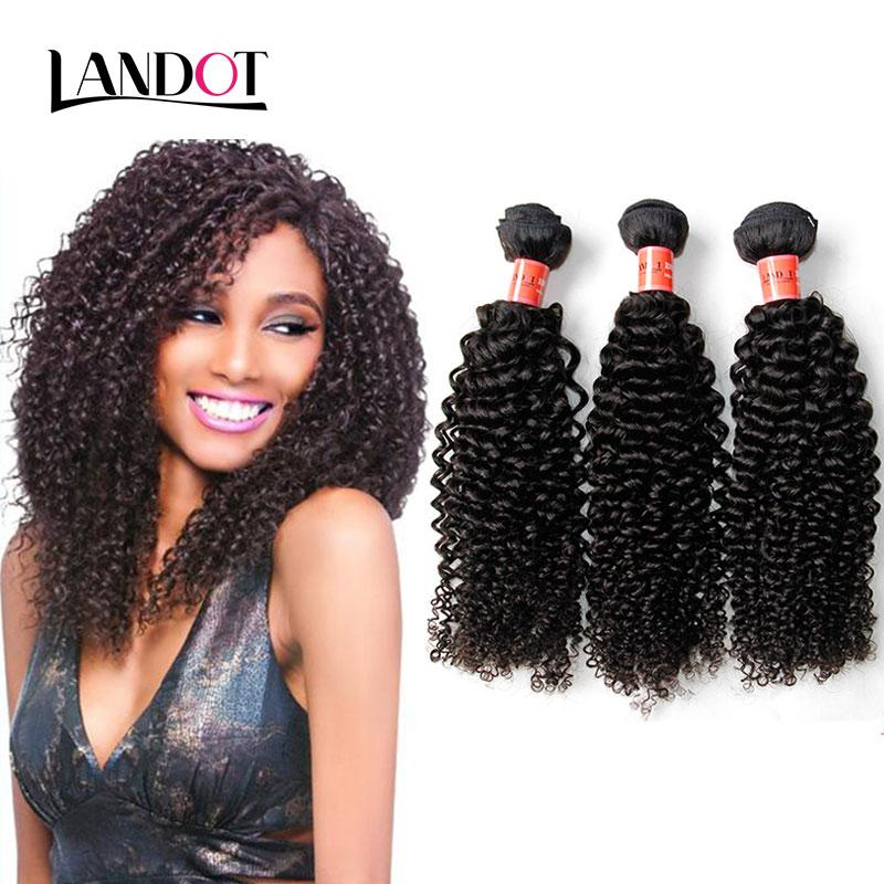 Brazilian Curly Virgin Hair Weaves Unprocessed Peruvian Indian Malaysian Cambodian Mongolian Deep Kinky Curly Remy Human Hair 3/4 Bundles