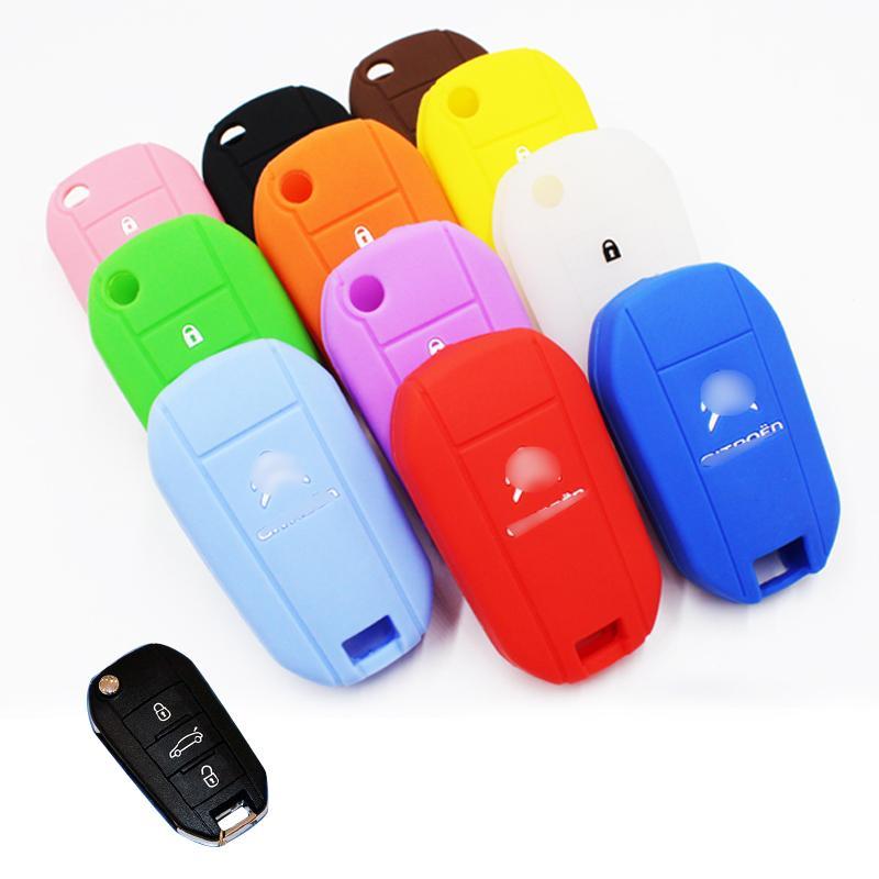 2016 신형 자동차 3 버튼 용 접는 실리콘 키 커버 스타일링 시트로엥 C4 에어콘 C4 CACTUS C5 C3 C4L 5 색 고품질
