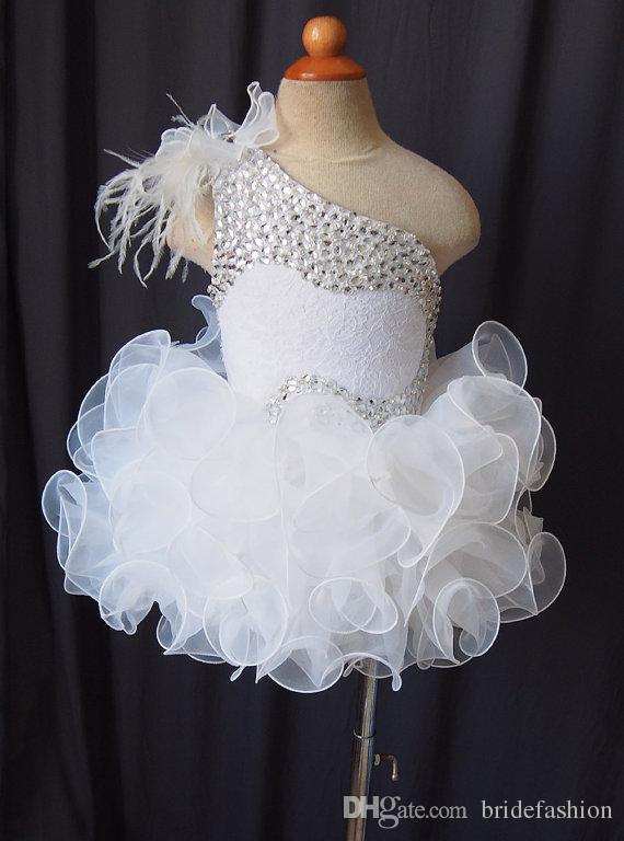 Una spalla di pizzo pizzo per ragazze fiore organza perline cupcake bambine pageant abiti bambini toddler glitz prom Abiti da ballo infantili