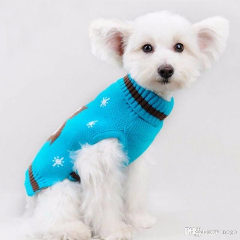 1 pcs Dog Clothes Pet Winter Knitted Cartoon Sweater Coats Puppy Warm High Collar Outerwear Z1