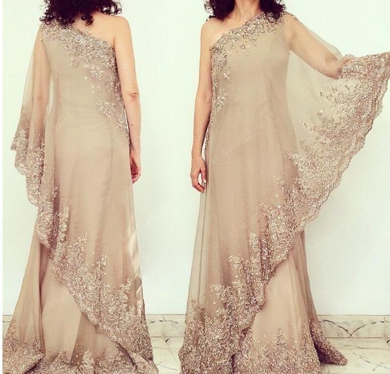 Dentelle sexy mère de robes de mariée brillant une épaule gaine en mousseline de soie mère de robes de mariée robes de soirée arabe