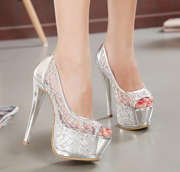 Nya Sexiga Silver Gold Bridal Pumps Peep-Toe Glittering Stiletto Heel Wedding Dress Shoes