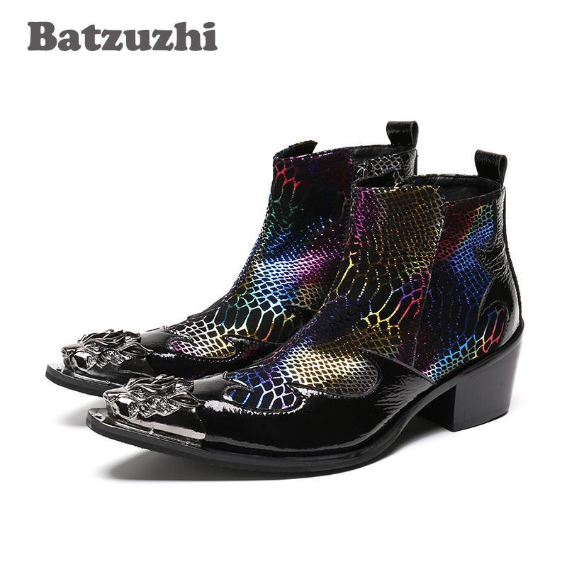 Batzuzhi stile occidentale moda uomo stivaletti in pelle traspirante scarpe da uomo club / business / stivaletti altezza uomo aumentata