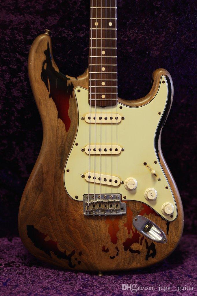 Rare 1961 Rory Gallagher Tribute ST Schwere Relic 3 Tone Sunburst E-Gitarre Erle Korpus Aged Schlagbrett Vintage-Hardware Tremolo Brücke