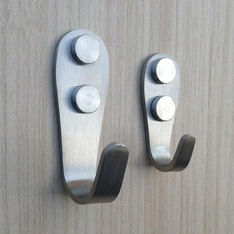 Bathroom Accessories Robe Hooks 2 Models Stainless steel door back Single hook Kitchen Wardrobe Hangers Wholesale