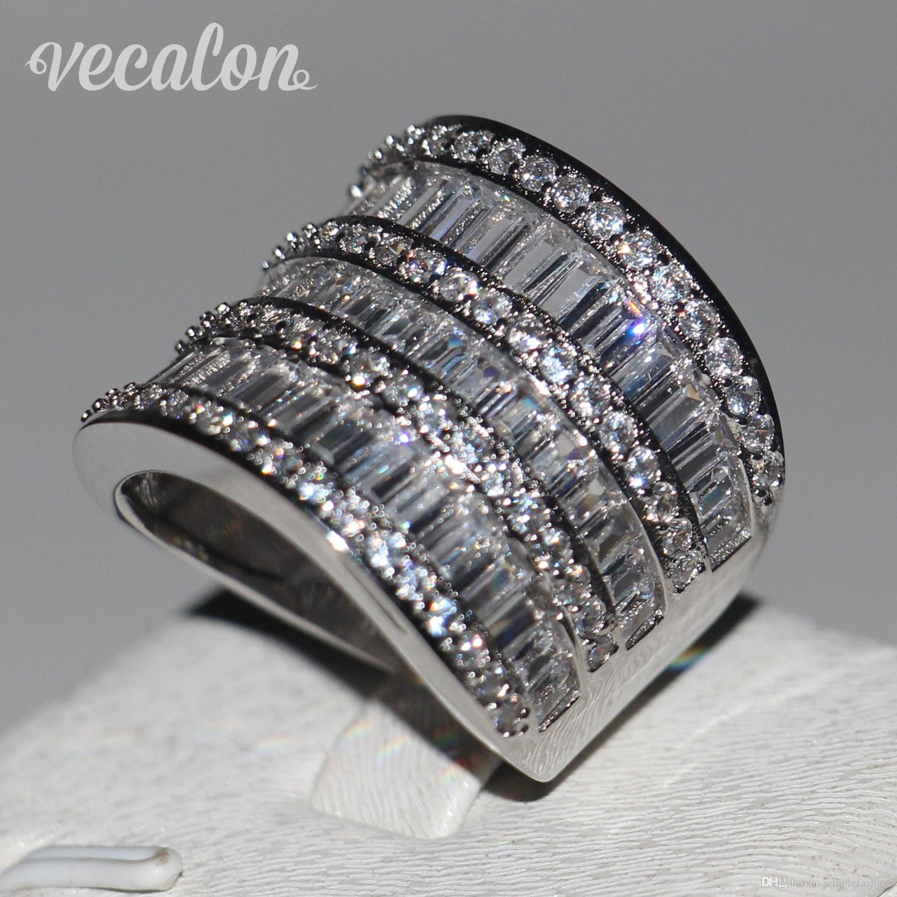 Vecalon Big anel Mulheres Jóias Cheia princesa corte Simulado diamante Cz 925 Sterling Silver anel de Noivado Banda de casamento para as mulheres