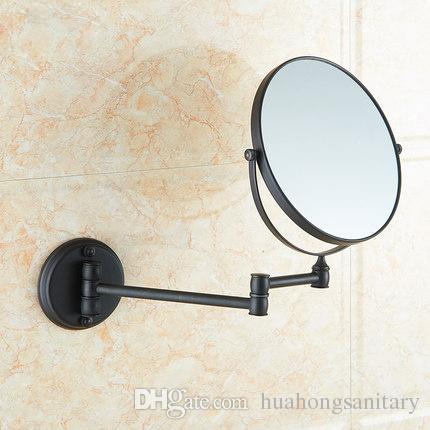 Frete grátis Modern projetado banheiro beleza espelho de aumento com bronze Escuro cobre pendurado / dobrável espelho de maquiagem do banheiro