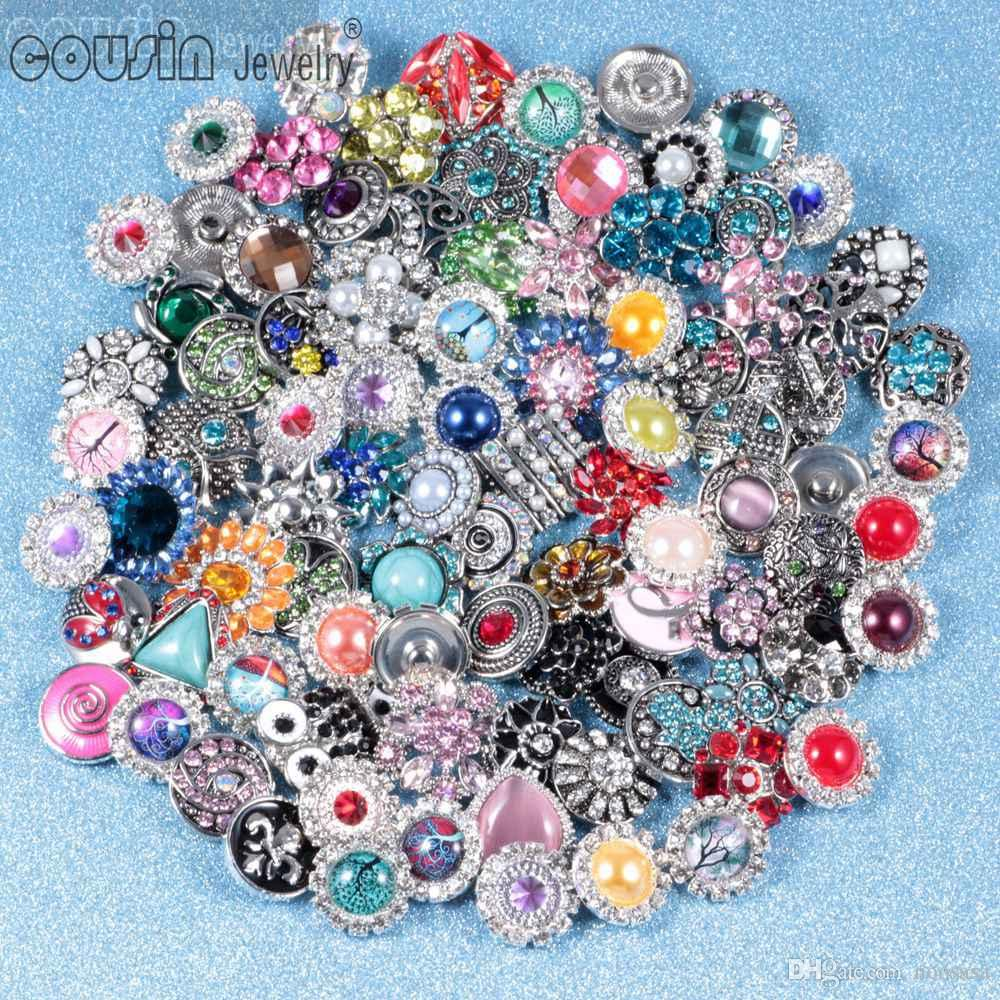 Hot 50pcs / lot di alta qualità misto molti stili 18 millimetri di metallo Snap Button Charm Strass stili di pulsanti Snaps Jewelry 01