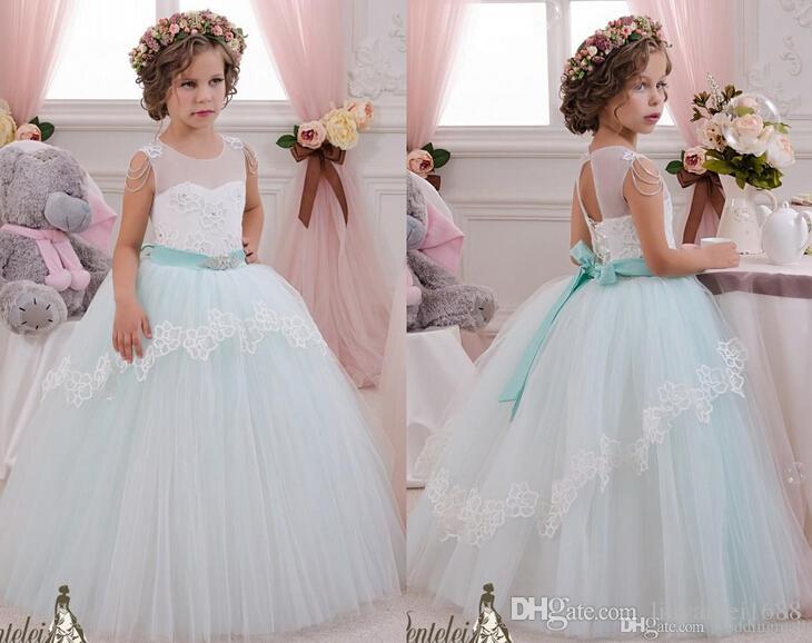 2019 pure cristaux de cou Applique robe de bal robe de fille de fleur robes enfant Vintage Pageant robes Sainte communion robes de mariée de fille de fleur