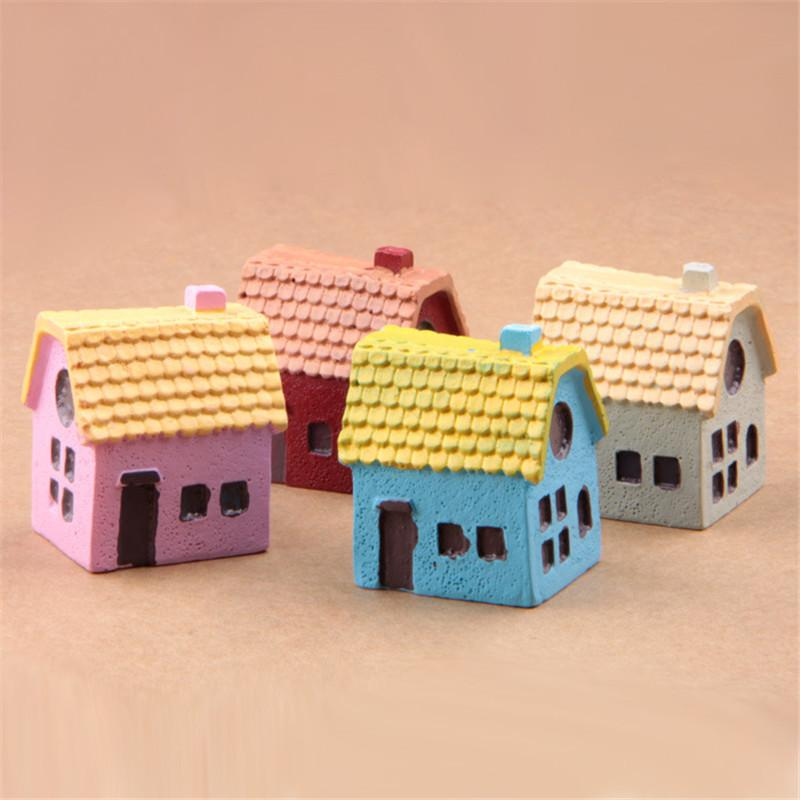 10Pcs/Set Kawaii Zakka Country Style Cartoon Small House Crafts Figure Bonsai Desktop DIY Mini Toys Fairy Garden Decoration