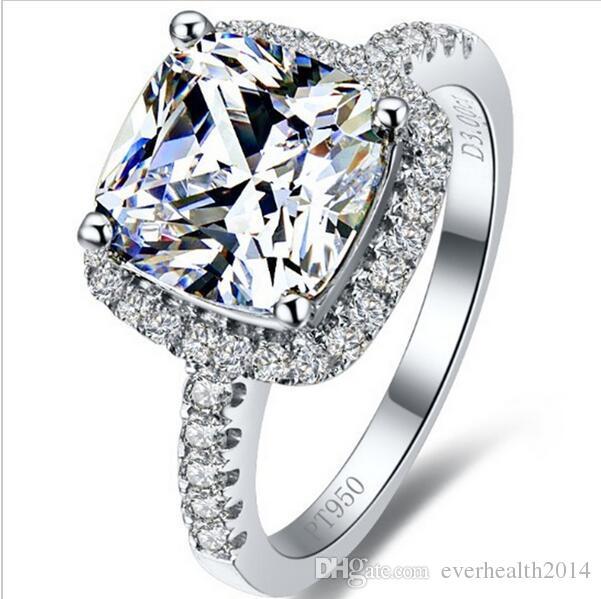 뜨거운 판매 탑 브랜드 스타일 3 카라 트 공주 잘라 쿠션 모양 소나 합성 다이아몬드 약혼 또는 결혼 반지 최고의 기념일 선물