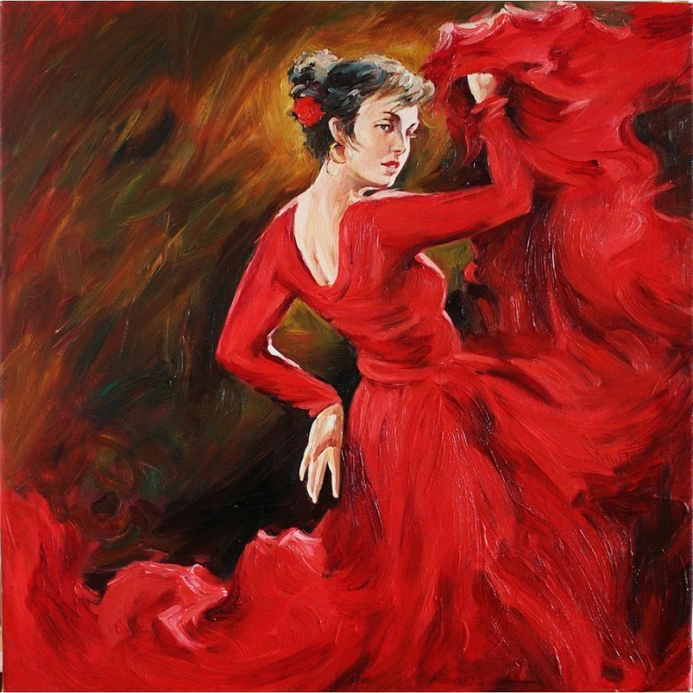 Ручной работы картины Рисунок искусства фламенко в красное масло на холсте, картины для домашнего декора