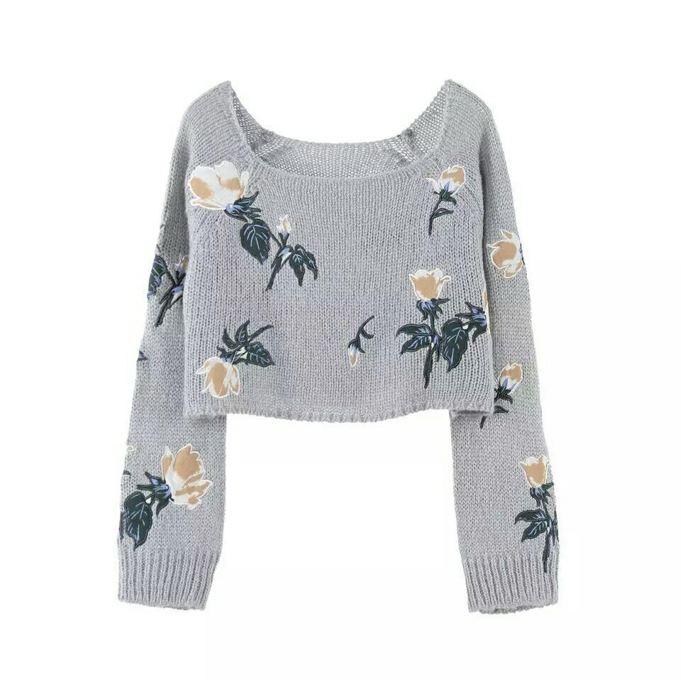 2017 de alta qualidade outono cinza flor bordado mangas compridas marca mesmo estilo das mulheres pullover scoop neck camisola das mulheres
