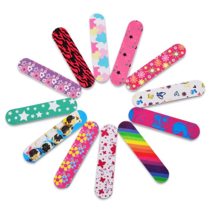 100 pcs Colorful mini 8.8cm Professional Nails Files Art Tools Sand emery board Grit free shipping
