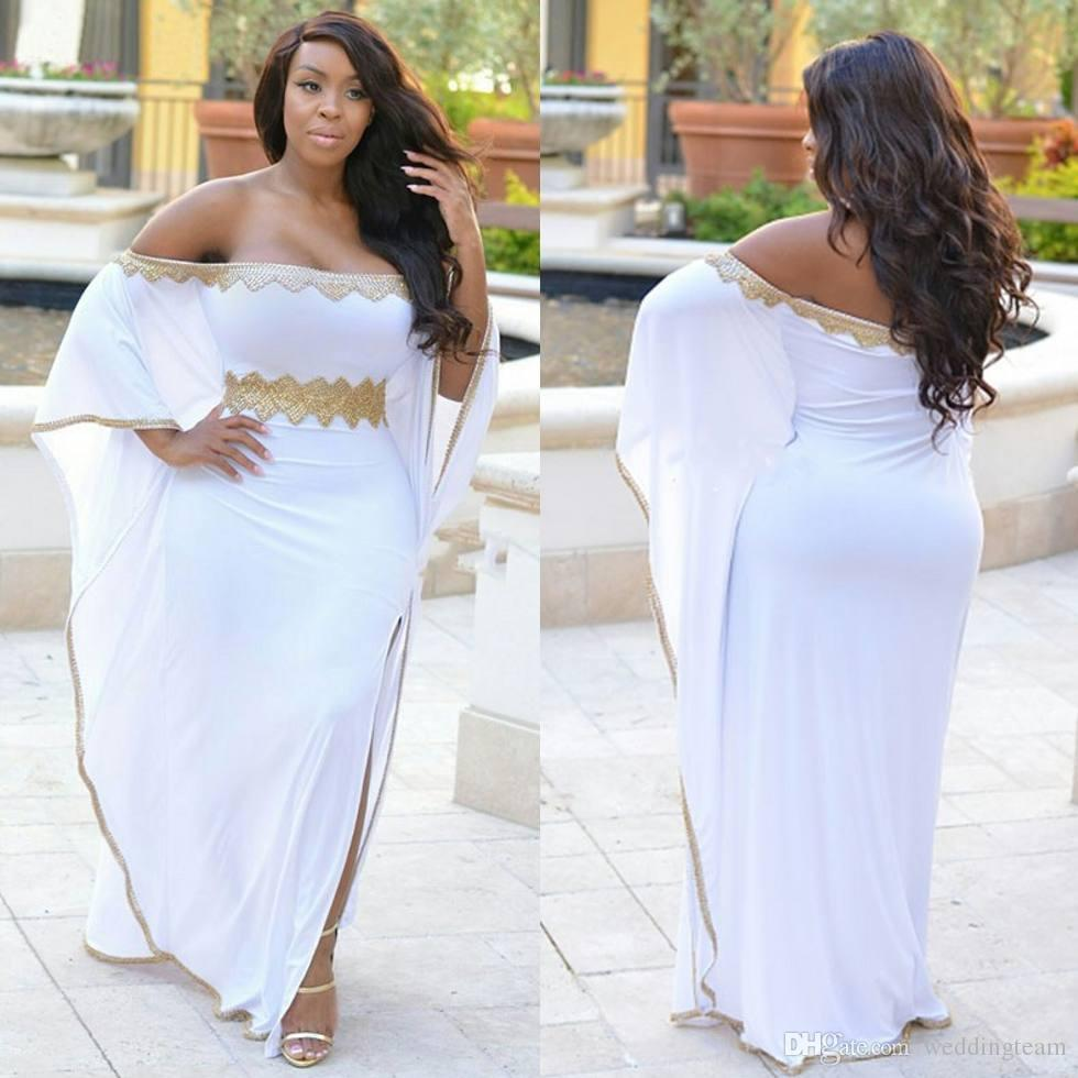 los angeles new product limited guantity Stylish White Split Side Plus Size Prom Dresses Gold Beaded Off The  Shoulder Evening Gowns Cheap Floor Length Chiffon Formal Dress Plus Size  Dresses ...