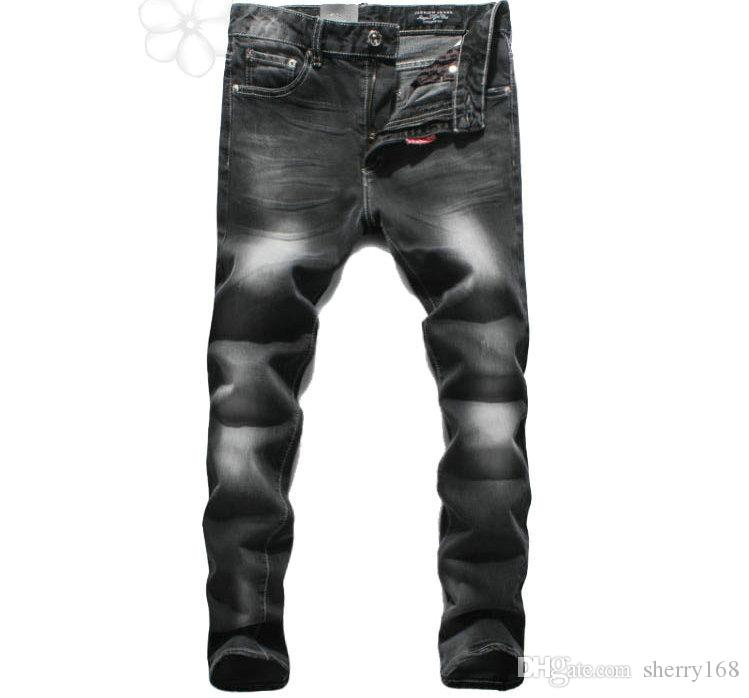 2016 New Original Fashion Straight Black Grinding White Jeans Ripped Denim Jeans Male Holey Washed Black Slim Do the old Jeans Plus Size