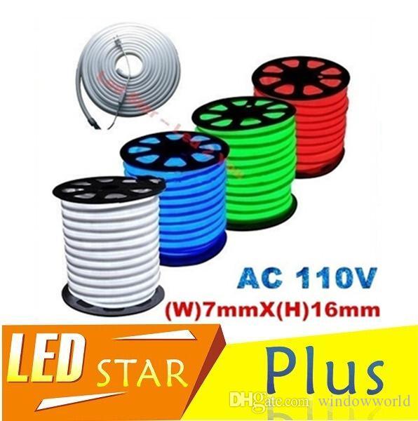 RGB LED أنبوب النيون فليكس الخفيفة للماء في الهواء الطلق الإضاءة النيون مرنة أحمر أبيض أخضر أزرق بقيادة نيون حبل سترة AC 110V