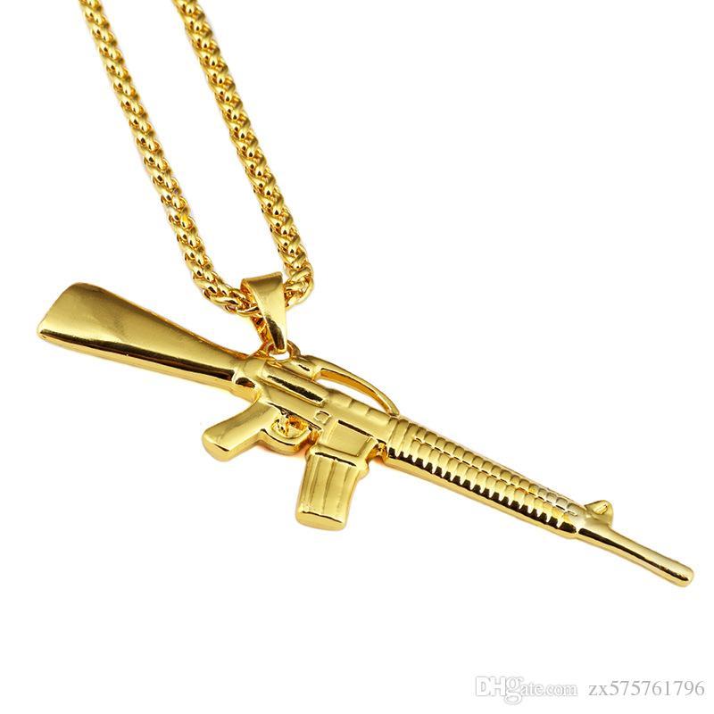 Collane da uomo Moda Hip Hop Gioielli Ciondolo a stella Placcato in oro 18 carati Catena lunga Punk Rock Micro Collana per uomo