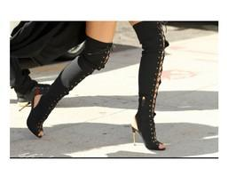 el envío libre bombea 10.5cm gamuza Matel tacón alto peep toe con cordones sobre la rodilla botas altas sandalias de los zapatos 35-42