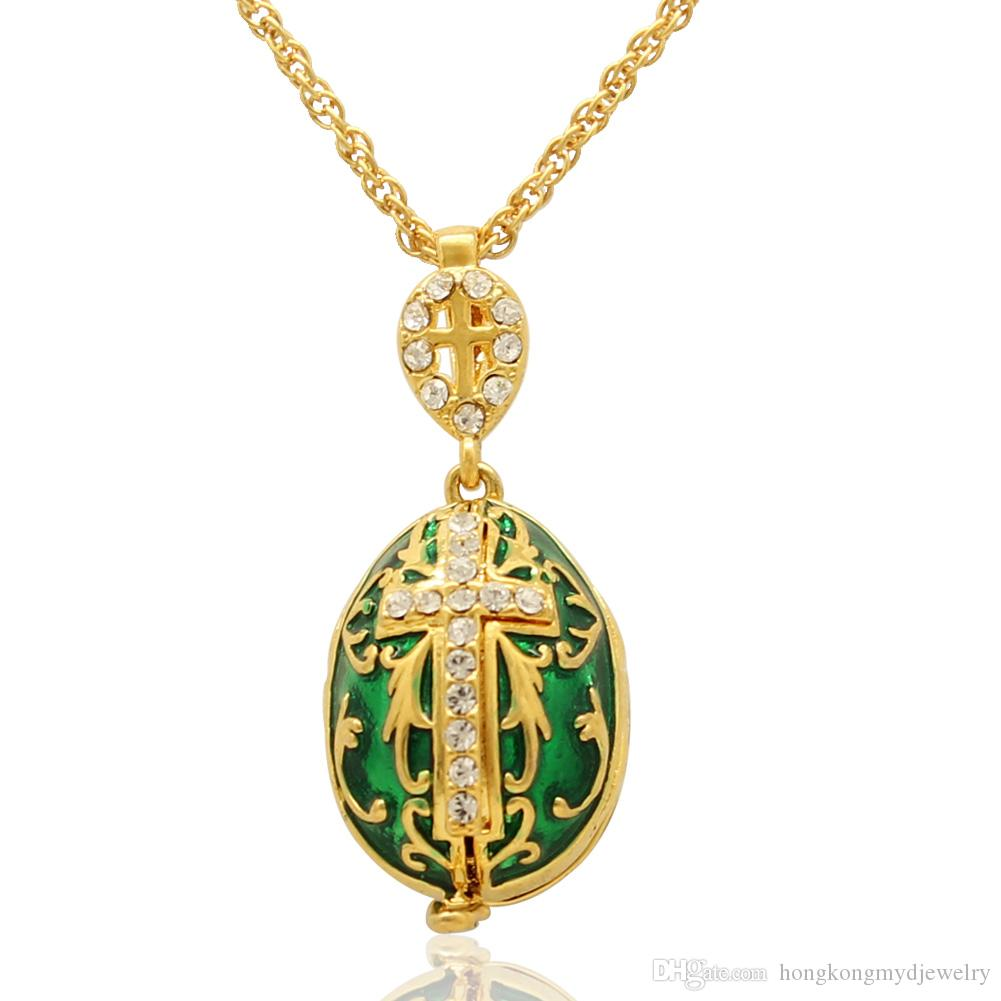 Maria Jesus and two angels cross locket pendant Faberge Egg Handmade Enamel color Russian Egg Locket Pendant Necklace Chain Included