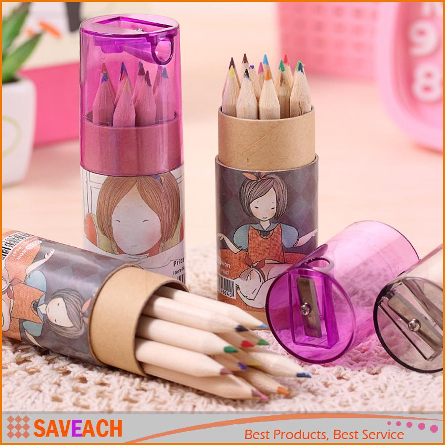 12PCS/Set Pure Kraft barreled color painting pen coloring pencils with pencil sharpener children gift Free Shipping