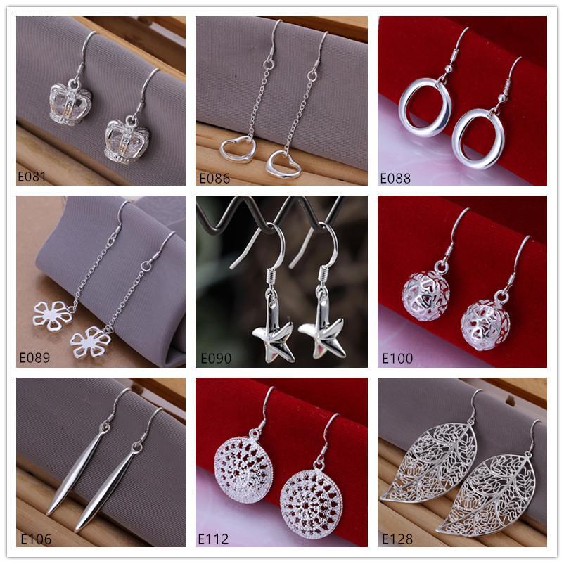 Best gift women's sterling silver plated earring mixed style EME20,free shipping fashion 925 silver plate Dangle Chandelier earrings
