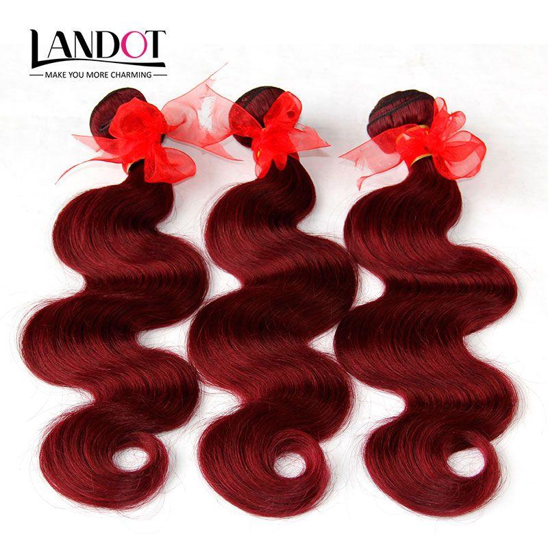 Bourgogne Brésiliens Vierge Cheveux Weave Bundles Brésilien Corps Vague Cheveux ondulés 3 Pcs Lot Vin Rouge 99 J Pas Cher Extensions de Cheveux Humains Tangle Gratuit