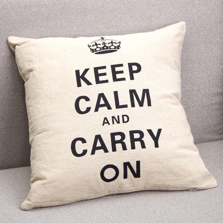 Awesome Crown Print Pillowcase Home Decor Linen Cotton Blended Crown Cushion Cover Keep Calm And Carry On Throw Pillow Case Black White
