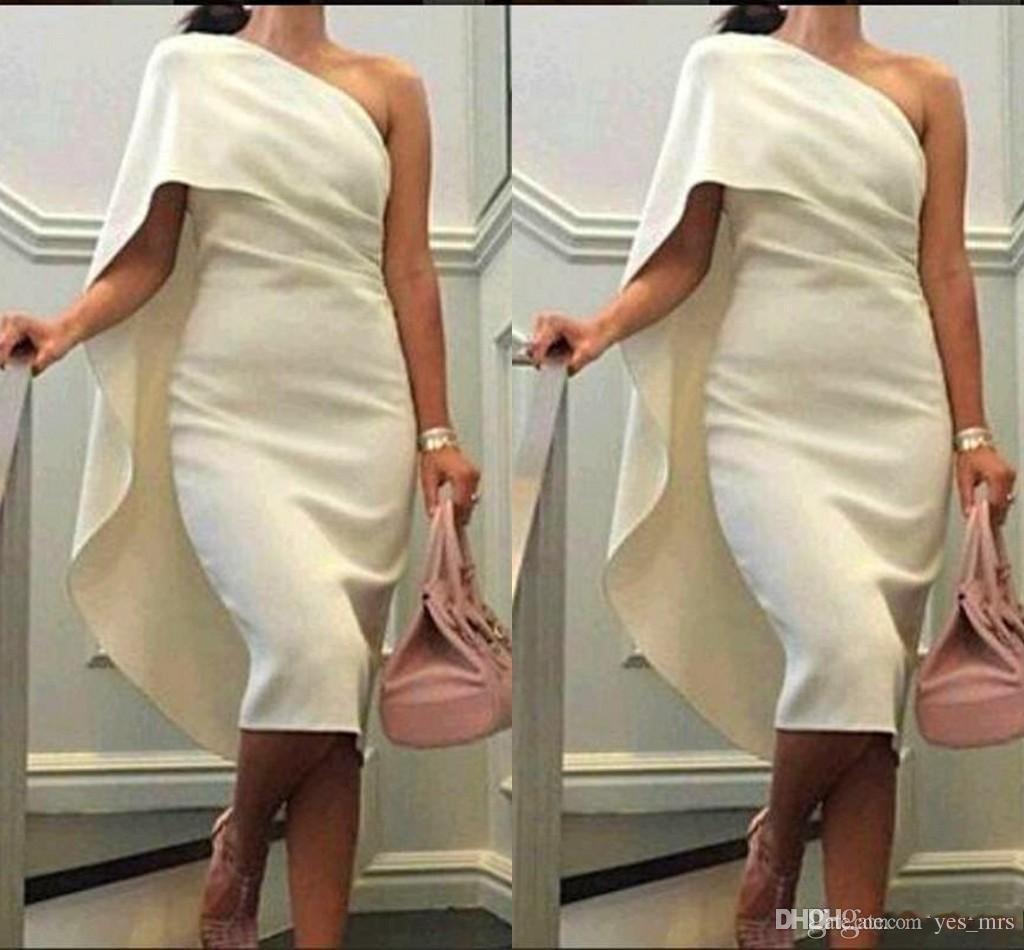 2016 novas mulheres baratas vestidos de cocktail uma bainha de ombro vestidos de bainha com comprimento de chá de capa vestido de festa plus size formal vestidos de homecoming