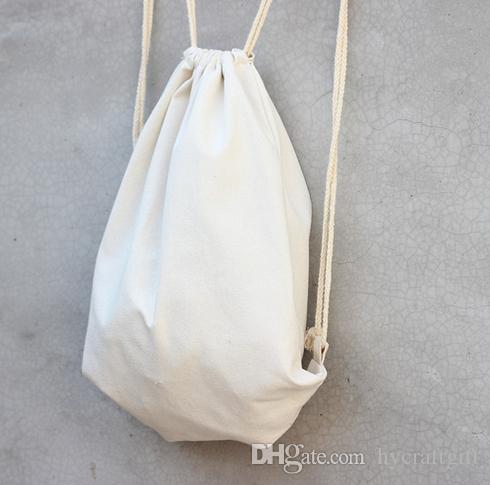White Canvas Drawstring Backpack Blank Plain Organizer Rucksack Travel Sports Phone Bags Handbag For Men Women Kids Diy Gift Crafts Bags Laptop