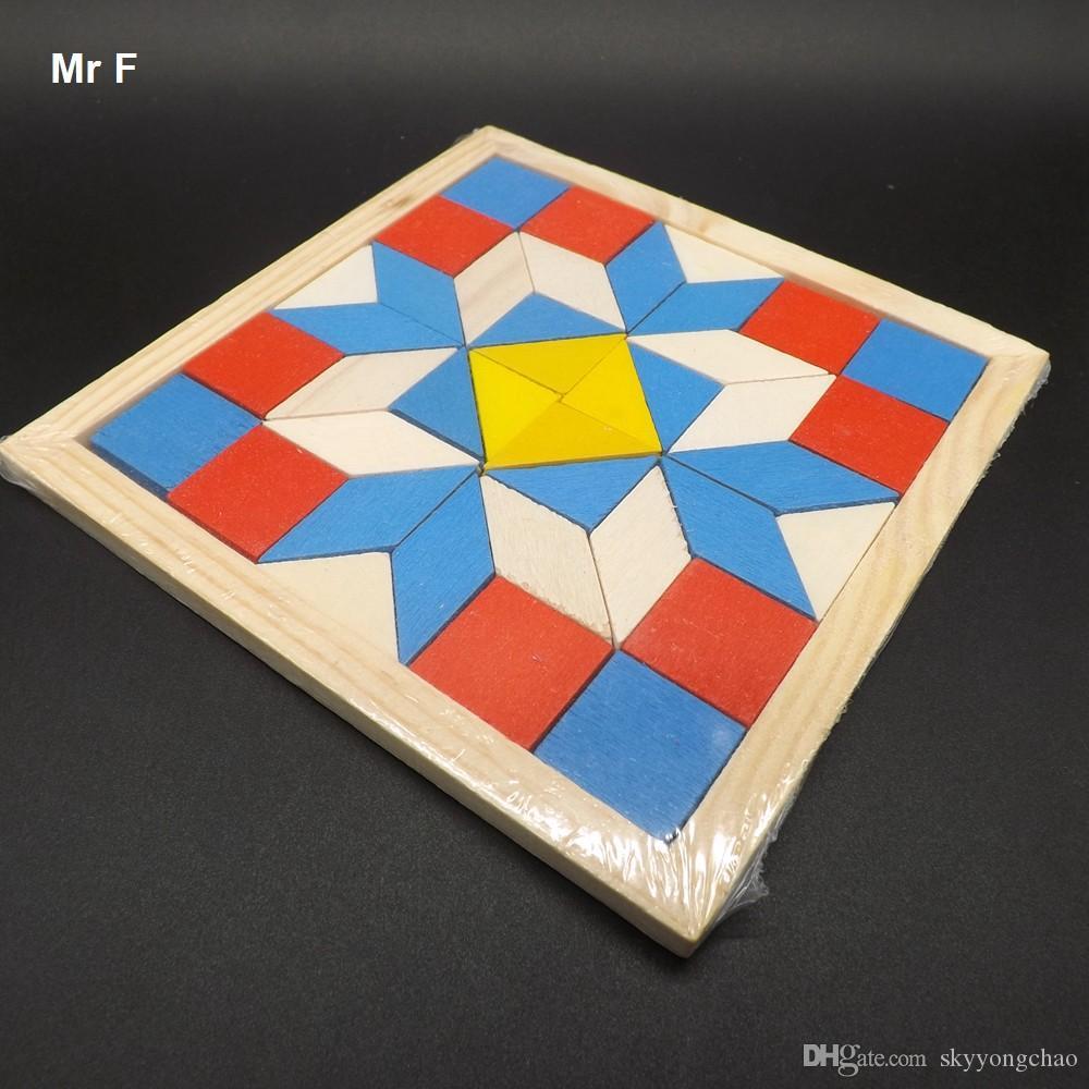 مضحك الهندسة المعين tangrams المنطق الألغاز ألعاب خشبية تدريب الأطفال الدماغ الذكاء العقل ألعاب أطفال الهدايا
