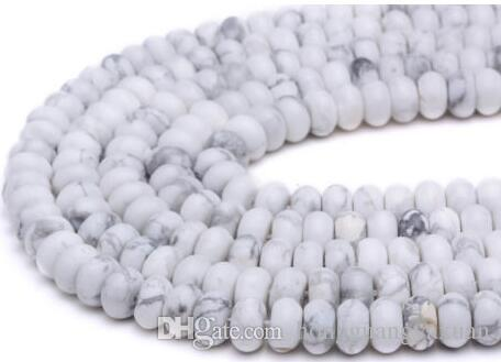 Natural Howlite Roundelle Loose Beads for Jewelry Making--many sizes 6x10mm