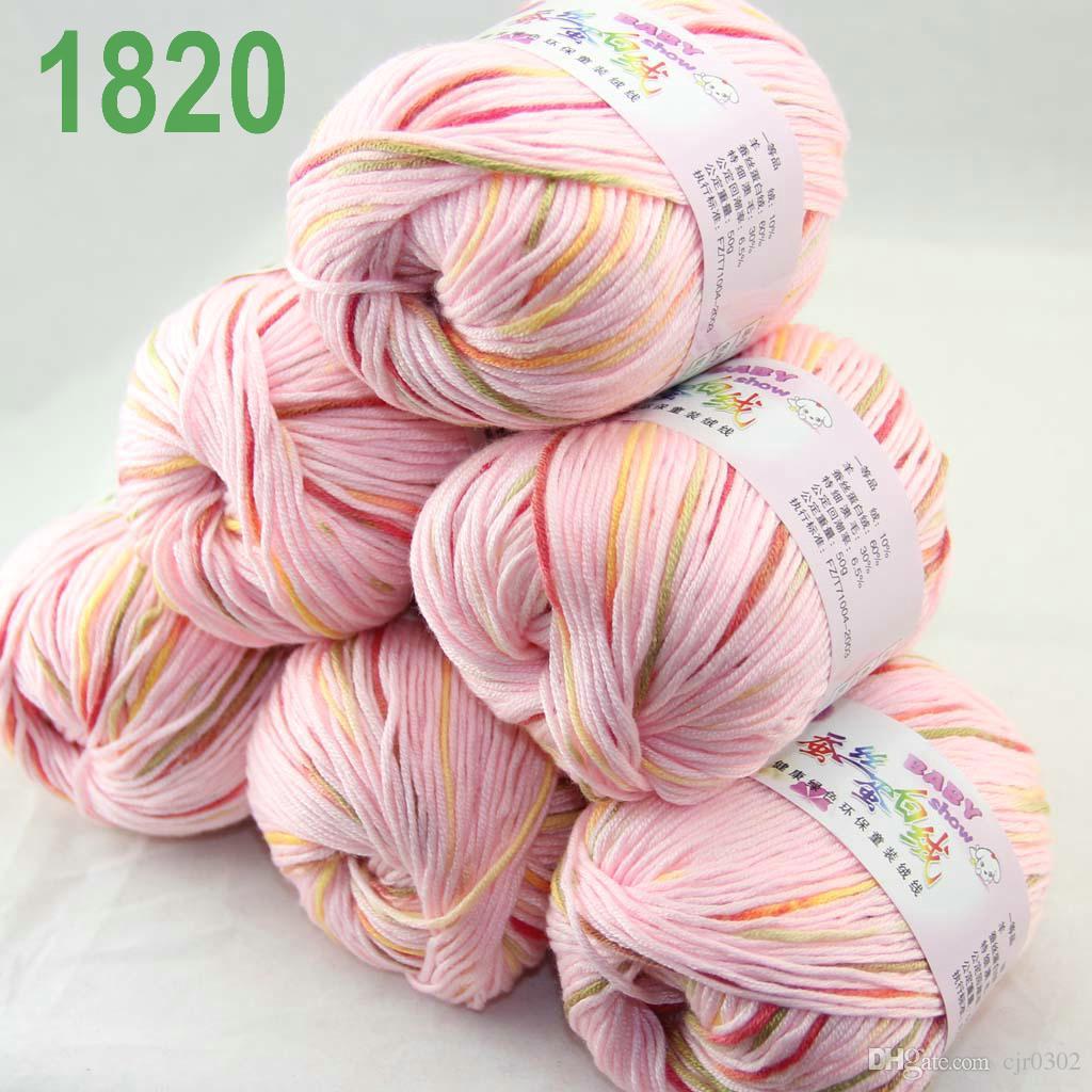 Продажа много 6 шаров х 50 г кашемир шелковый бархат детская пряжа розовый красный мох 18-20