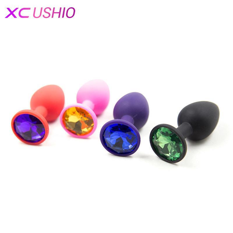 Silicone Anal Sex Toys pour femmes et hommes Érotique Butt Plugs avec Bijoux en Cristal Coloré Perles Adultes Anus Produit Anal Plug 0701