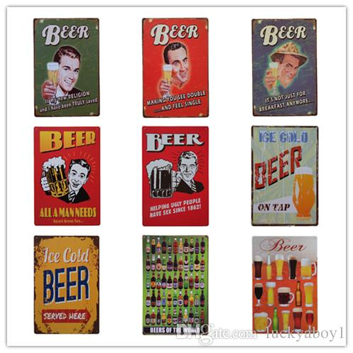 Ice Cold Beer Retro rustic tin metal sign Wall Decor Vintage Tin Poster Cafe Shop Bar home decor