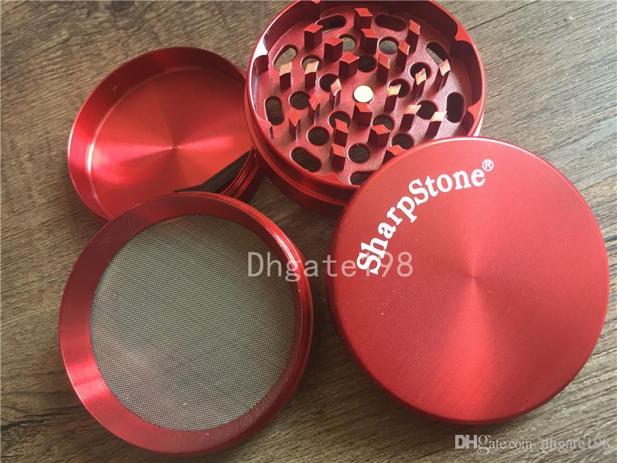 Großhandel Kräutermühle 55mm 63mm 4pc Sharp Stone® Grinder Grinder Metall SharpStone 4pc Hardtop Rauchtabak Kräutermühlen