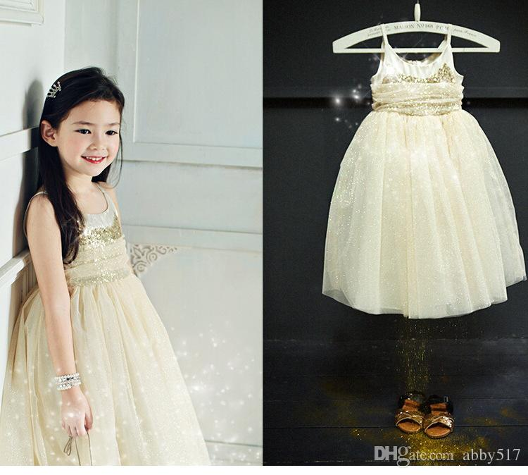 High Quality sequined princess long gown for girls slip dress kids dress Summer Shining Party Dress Baby Clothing free shipping