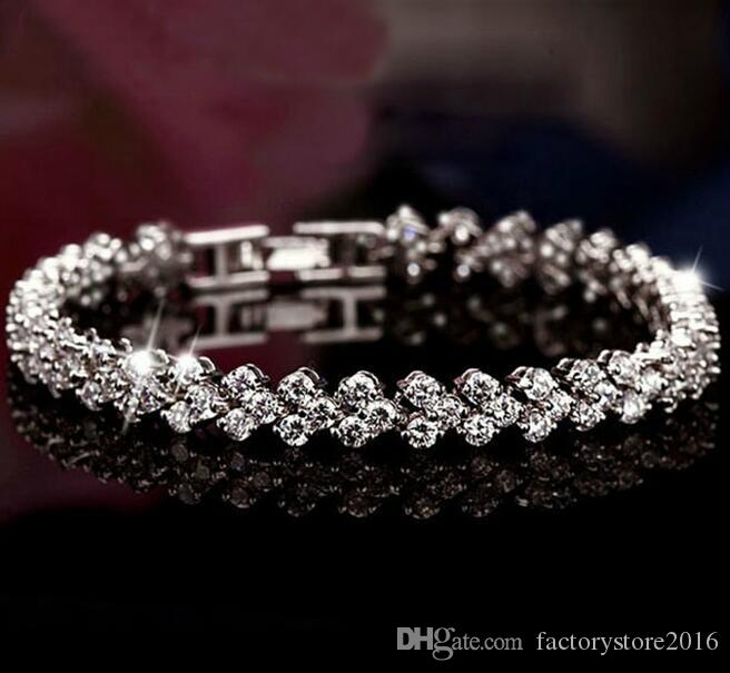 925 fascini d'argento dei monili AAA zircone diamante romano Tennis Bracciale autentico lusso Austria cristallo brillante Bracciali